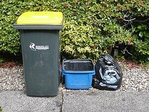 Kerbside collection bins in Dunedin, New Zeala...