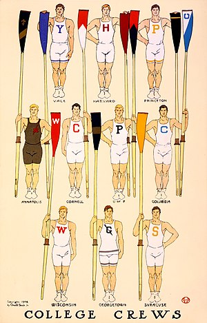 Ten men representing members of rowing crews, ...