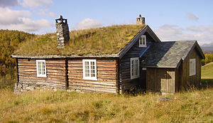 Farmhouse with sod roof, Hemsedal, Norway