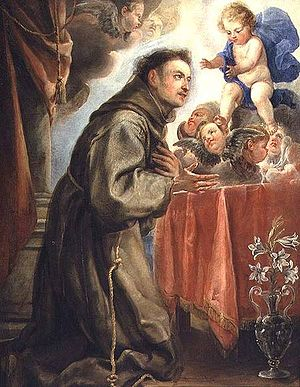 St. Anthony of Padua (1195-1231) adoring the C...