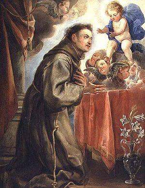 St. Anthony of Padua (1195-1231) adoring the C...
