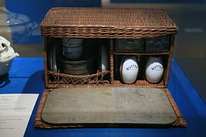 Family Picnic Basket, Wicker with food contain...