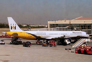 View of apron at Malaga Airport, showing a Mon...