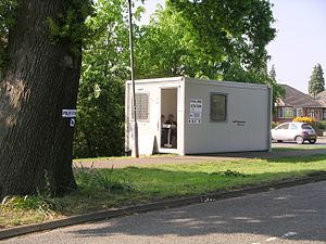 Photo of a polling station in a portable cabin...