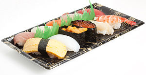 Typical Japanese sushi set, as sold in departm...