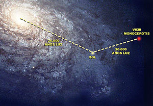 English: Location of V838 Mon in the Milky Way...