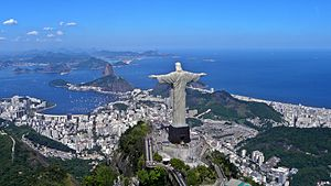 English: Christ the Redeemer overlooking Rio D...