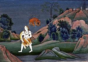 English: Shiva Carrying Sati on His Trident, c...