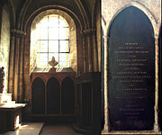 The tomb of Descartes (middle, with detail of the inscription), in the church of Saint-Germain-des-Prés, Paris.