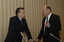 Orbán and Romanian PresidentTraian Băsescu in 2008.