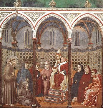 St Francis preaches in the presence of pope Ho...