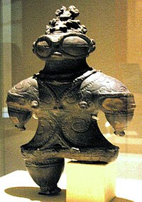 The Dogū (土偶) has been speculated to be an Ancient Astronaut that visited earth during the Jōmon period of Ancient Japan, it shows features claimed to resemble a space suit, goggles and a space helmet.