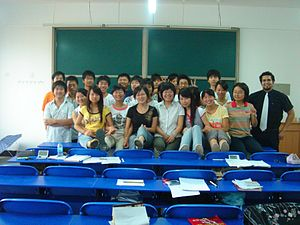 Foreign Teacher with students.