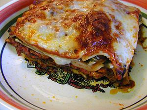A photo of lasagne