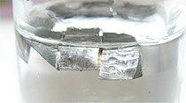 Lithium metal stored under paraffin