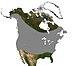 English: This map shows the range of Myotis lu...
