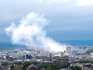 view of Oslo city after July 2011 bombing