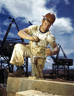 1942 photograph of Carpenter at work on Dougla...