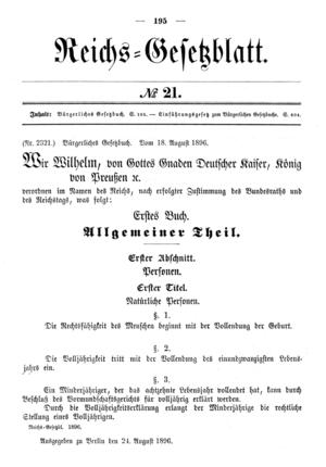 Description: Publication of the German Civil C...