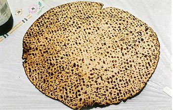 Handmade shmura matzo used at the Passover Sed...