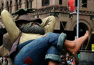 Swagman float at the Adelaide Christmas Pageant.