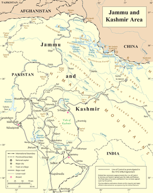 United Nations' map of Jammu and Kashmir, acce...