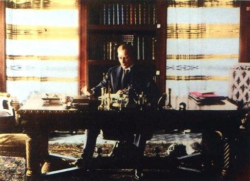 Ataturk at Cankaya Library 16 July 1929