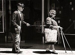 English: Street-documentary shot of the blind ...