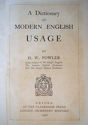 English: Frontispiece of Fowler's Modern Engli...