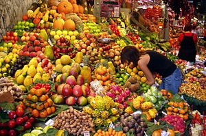 Fruit stall in a market in Barcelona, Spain.