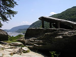 Harpers Ferry and water gap from Jefferson Rock
