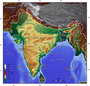 English: topographic map of India