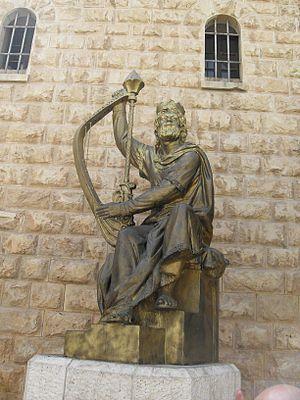 English: Jerusalem Mount Sion King David Statu...