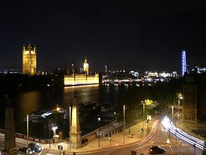 British Parliament and London Eye at night