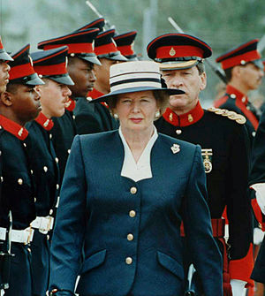 Margaret Thatcher reviewing Bermudian troops