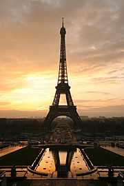 Symbol of France, the Eiffel tower atsunrise