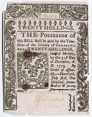English: Twenty shilling note, Colony of Conne...