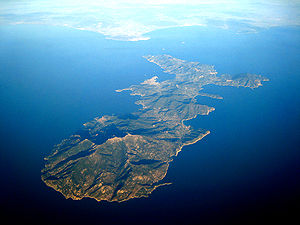 Aerial view of the island of Elba
