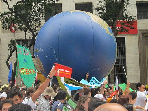 Rio+20 demonstration Huge globe
