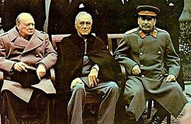 British Prime Minister Winston Churchill, U.S. President Franklin D. Roosevelt and Stalin at the Yalta Conference, February 1945.