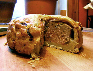 Homemade traditional English pork pie