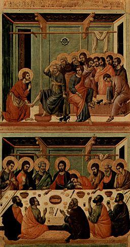 Duccio di Buoninsegna, Lavanda dei piedi, la Maestà del Duomo di Siena, 1311.