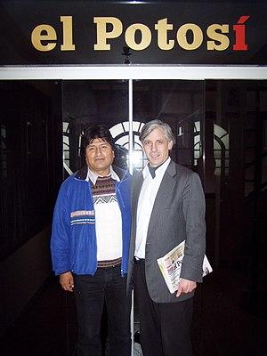 Evo Morales y Álvaro García Linera en El Potosí