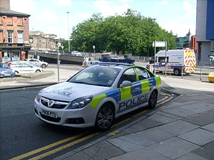 Merseyside Police ANPR Car parked on double ye...
