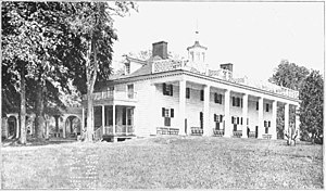 Black and white photograph of Mount Vernon, ho...