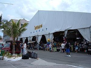 The straw market in Nassau, The Bahamas.