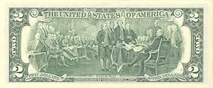 Reverse of U.S. two-dollar bill John Trumbull'...