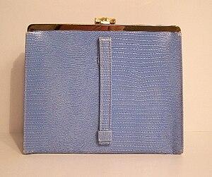 English: Vintage faux crocodile skin blue pock...