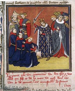 Adoubement de chevaliers, enluminure du XIVe s.