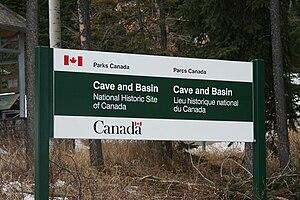 English: The descriptive sign at the entrance ...